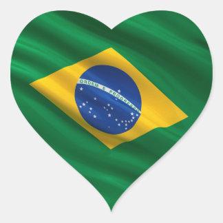 Flag of Brazil Heart Sticker