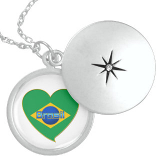Flag of BRAZIL in heart of countries of the world Custom Jewelry
