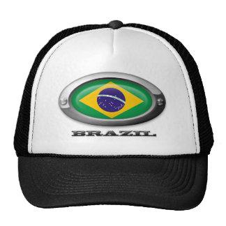 Flag of Brazil in Steel Frame Trucker Hat