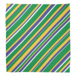 [ Thumbnail: Flag of Brazil Inspired Colored Stripes Pattern Bandana ]