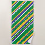 [ Thumbnail: Flag of Brazil Inspired Colored Stripes Pattern Beach Towel ]