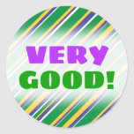 [ Thumbnail: Flag of Brazil Inspired Colored Stripes Pattern Round Sticker ]