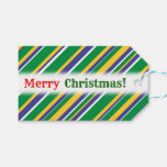 [ Thumbnail: Flag of Brazil Inspired Colored Stripes Pattern Gift Tags ]