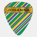 [ Thumbnail: Flag of Brazil Inspired Colored Stripes Pattern Guitar Pick ]