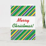 [ Thumbnail: Flag of Brazil Inspired Colored Stripes Pattern Card ]