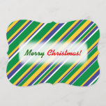 [ Thumbnail: Flag of Brazil Inspired Colored Stripes Pattern Invitation ]