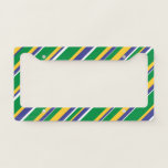 [ Thumbnail: Flag of Brazil Inspired Colored Stripes Pattern License Plate Frame ]