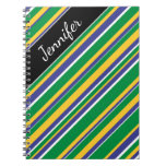 [ Thumbnail: Flag of Brazil Inspired Colored Stripes Pattern Notebook ]
