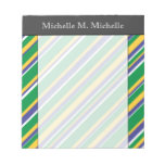 [ Thumbnail: Flag of Brazil Inspired Colored Stripes Pattern Notepad ]
