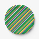 [ Thumbnail: Flag of Brazil Inspired Colored Stripes Pattern Paper Plate ]