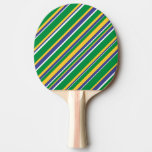 [ Thumbnail: Flag of Brazil Inspired Colored Stripes Pattern Paddle ]
