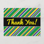 [ Thumbnail: Flag of Brazil Inspired Colored Stripes Pattern Postcard ]