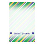 [ Thumbnail: Flag of Brazil Inspired Colored Stripes Pattern Stationery ]