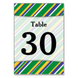 [ Thumbnail: Flag of Brazil Inspired Colored Stripes Pattern Table Number ]