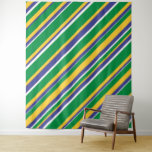 [ Thumbnail: Flag of Brazil Inspired Colored Stripes Pattern Tapestry ]