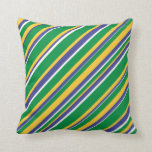 [ Thumbnail: Flag of Brazil Inspired Colored Stripes Pattern Throw Pillow ]