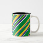 [ Thumbnail: Flag of Brazil Inspired Colored Stripes Pattern Coffee Mug ]