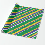 [ Thumbnail: Flag of Brazil Inspired Colored Stripes Pattern Wrapping Paper ]