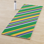 [ Thumbnail: Flag of Brazil Inspired Colored Stripes Pattern Yoga Mat ]