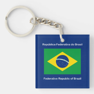 Flag of Brazil Double-Sided Square Acrylic Keychain