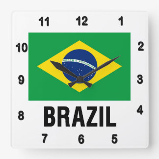 fLAG OF bRAZIL OUTLINE Square Wall Clock