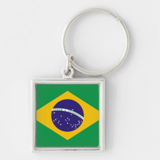 Flag of Brazil Silver-Colored Square Keychain