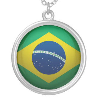 Flag of Brazil Silver Plated Necklace