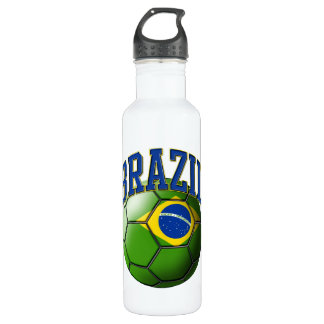 Flag of Brazil Soccer Ball Liberty Bo Water Bottle