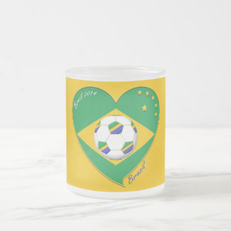 Flag of BRAZIL SOCCER of champions of the world Frosted Glass Coffee Mug