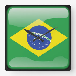 Flag of Brazil Square Wall Clock