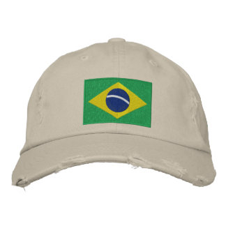 Flag of Brazil with Personalized Text Embroidered Baseball Hat
