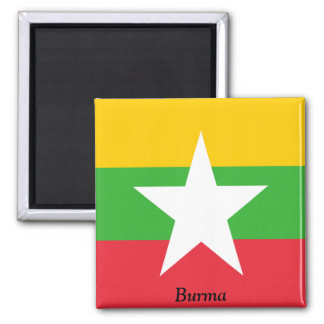 Flag of Burma 2 Inch Square Magnet