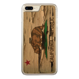 Flag of California Republic Vintage Wood Peel Look Carved iPhone 8 Plus/7 Plus Case