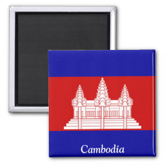 Flag of Cambodia 2 Inch Square Magnet