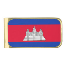 Flag of Cambodia Gold Finish Money Clip