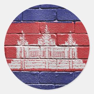 Flag of Cambodia Classic Round Sticker