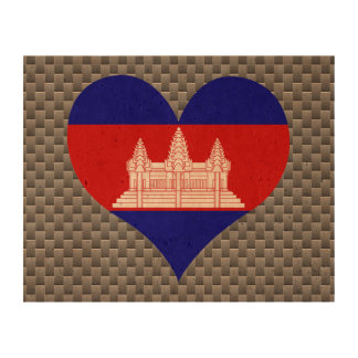 Flag of Cambodian on metal background Cork Paper Print