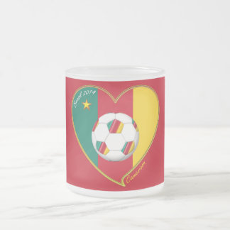 Flag of CAMEROUN national SOCCER of world 2014 Frosted Glass Coffee Mug