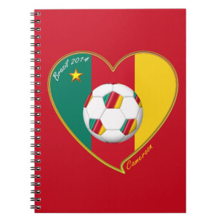 Flag of CAMEROUN national SOCCER of world 2014 Spiral Notebooks