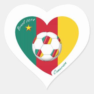 Flag of CAMEROUN SOCCER of national team 2014 Heart Sticker