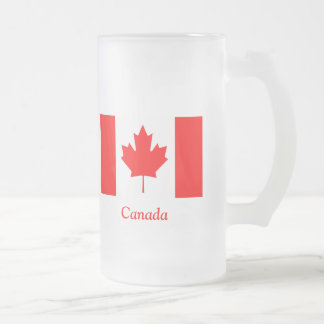 Flag of Canada Frosted Glass Beer Mug