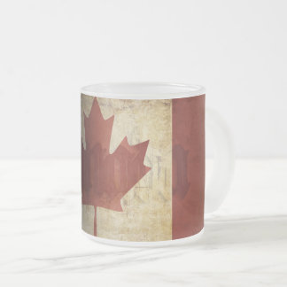 Flag of Canada / Grunge... Frosted Glass Coffee Mug