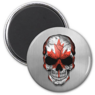 Flag of Canada on a Steel Skull Graphic 2 Inch Round Magnet