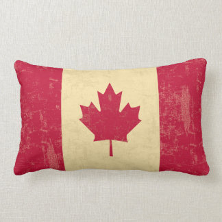 Flag of Canada Vintage Faded Throw Pillow