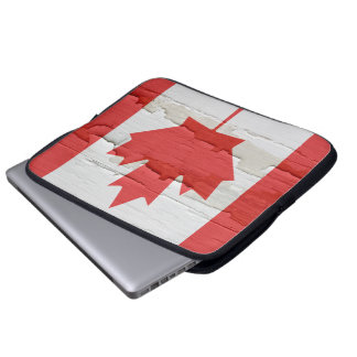 Flag of Canada Weathered Paint Laptop Sleeve