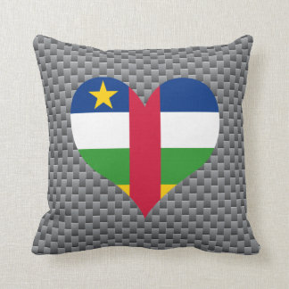 Flag of Central African on metal background Throw Pillow