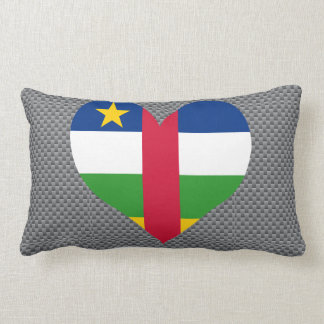 Flag of Central African on metal background Pillow