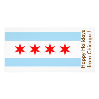 Flag of Chicago, Happy Holidays from U.S.A. Card