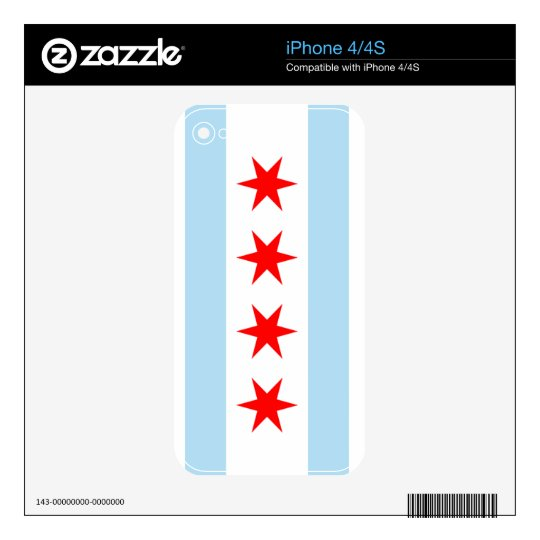 Flag of Chicago iPhone 4 4S Skin Decals For The iPhone 4S
