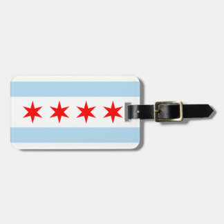 Flag of Chicago Luggage Tag w/ leather strap